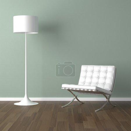 Photo pour Scène de design d'intérieur avec une chaise moderne blanche et une lampe sur un mur vert pâle - image libre de droit