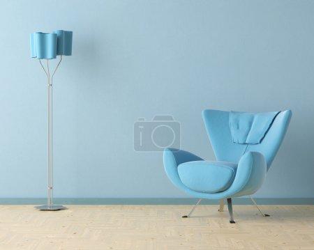 Blue interior design scene