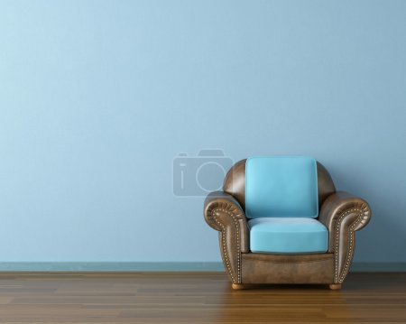Photo for Interior design scene with a modern brown leather couch and lamp on blue wall - Royalty Free Image