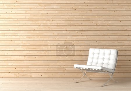 Photo for Interior design of wooden wall with white leather chair and copy space on the top left corner - Royalty Free Image