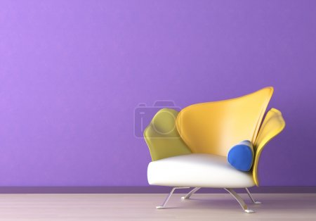 Photo for Interior design of a modern armchair against a violet wall with copy space on the top left corner - Royalty Free Image