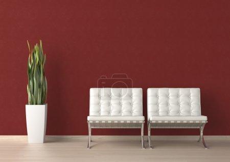 Photo pour Design intérieur de deux chaises blanches et une plante sur un mur rouge avec espace de copie sur le dessus - image libre de droit