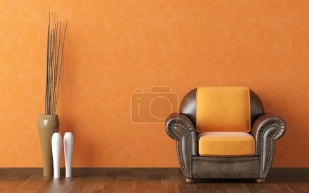 Photo for Interior design scene brown leather couch on a orange wall background with vases and copy space - Royalty Free Image