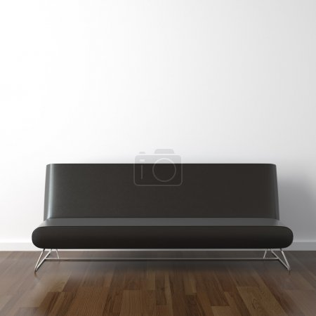 Photo for Interior design scene with modern black leather couch on white wall - Royalty Free Image