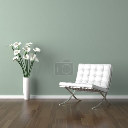 Photo for Interior design scene with a white modern chair and avase of calla lillys on a pale green wall - Royalty Free Image