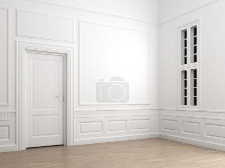 Photo pour Scène intérieure d'un coin chambre spacieux avec une porte fermée et une fenêtre avec un chemin de coupe pour ajouter une scène extérieure - image libre de droit