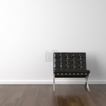 Interior design of black barcelona chair on a whit...