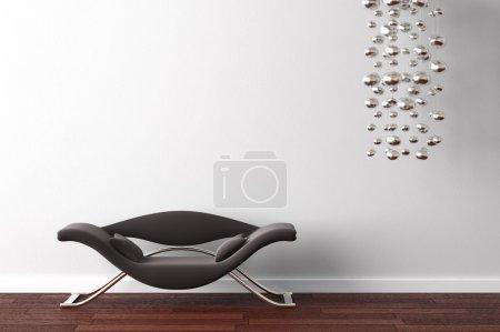 Photo pour Design d'intérieur od moderne fauteuil noir et lampe suspendue sur mur blanc - image libre de droit