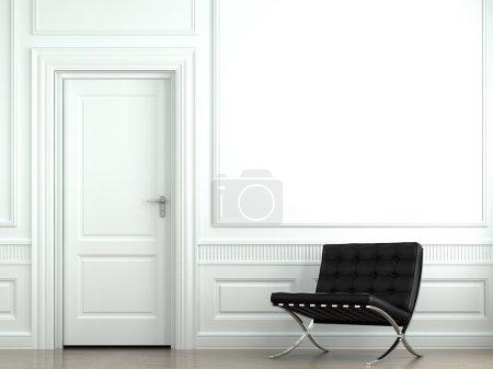 Photo pour Design intérieur de l'intérieur blanc classique avec chaise barcelona noire - image libre de droit