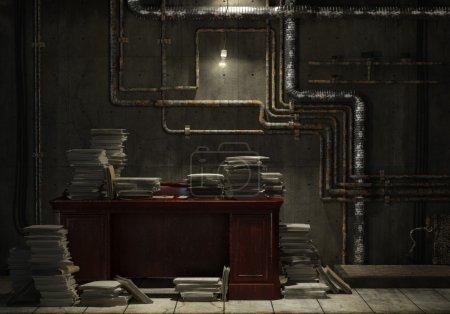 Photo pour Grunge sous-sol avec bureau et beaucoup de fichiers empilés comme concept pour esclave de travail dans le bureau - image libre de droit