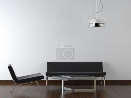 Photo pour Design d'intérieur noir mobilier de salon et lampe sur mur blanc avec scape copie - image libre de droit