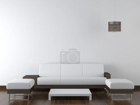 Photo for Interior design of modern white and brown living room furniture against white wall with a lamp hanging and lots of copy space - Royalty Free Image