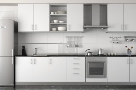 Photo for Interior design of clean modern white and black kitchen with stainless steel equipment - Royalty Free Image