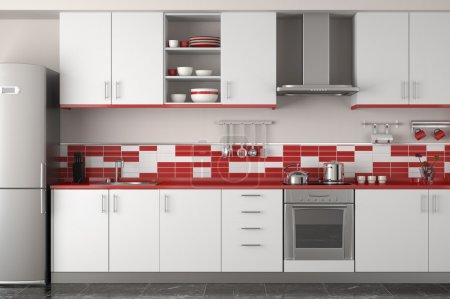 Photo for Interior design of clean modern red and white kitchen - Royalty Free Image