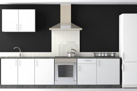 Photo pour Design intérieur de cuisine moderne propre noir et blanc - image libre de droit