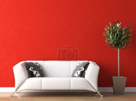 Photo for Interior design of modern white couch on red wall background - Royalty Free Image