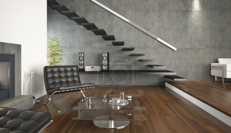 Photo for Interior design of modern architecture living room - Royalty Free Image