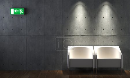Interior design concrete wall and chairs