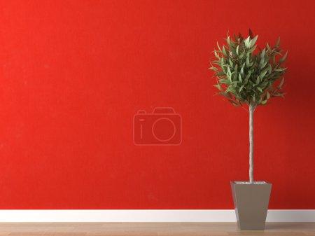 Photo pour Scène 3D d'une plante intérieure sur un mur rouge vif - image libre de droit