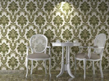 Classical wallpaper interior