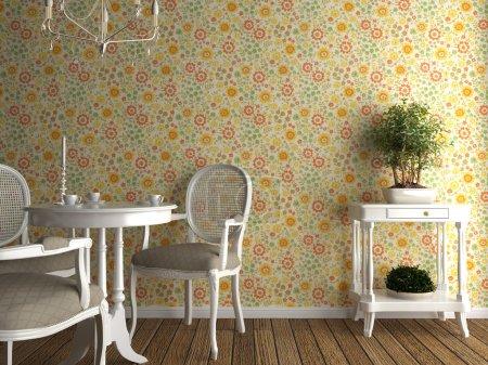 Photo pour Intérieur de la maison avec papier peint fleuri et meubles blancs - image libre de droit