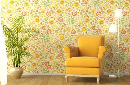 Interior with armchair and flowery wallpaper