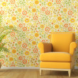 3d scene of interior with armchair and flowery wal...