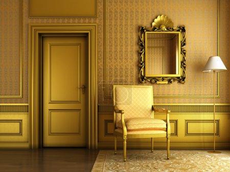 Photo pour 3d rendu de la scène intérieure du palais de luxe salon avec beaucoup de moulage d'or et de meubles - image libre de droit