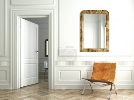 Классические белые зеркала интерьера
