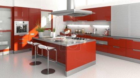 Photo pour Rendu 3D d'un intérieur de cuisine rouge moder - image libre de droit