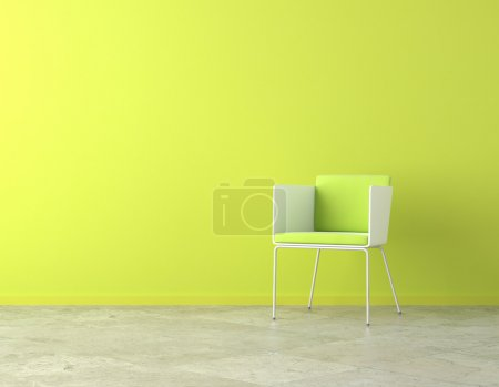 Photo for Green simple interior with chair and copy spaceon the wall - Royalty Free Image