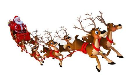 Photo pour Père Noël et ses 8 rennes avec traîneau - image libre de droit