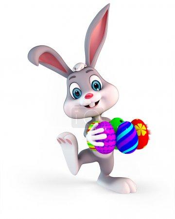Photo pour Illustration de rendu 3D d'un oeufs colorés mignon easter bunny carring - image libre de droit