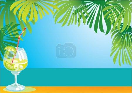 Illustration pour Frontière avec cocktail et paysage marin - image libre de droit