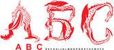 Series of dragons alphabet letters ABC fantasy dragon font