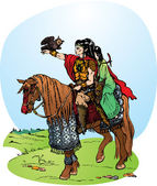 Illustration for fantasy fairy tale: 2 elfs riding on horse
