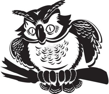 Illustration pour Mignon propre sur la branche. image en noir et blanc - image libre de droit