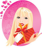 Blond girl portrait with little red gift box in her hand