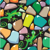 Seamless texture of colorful pebble stonewall