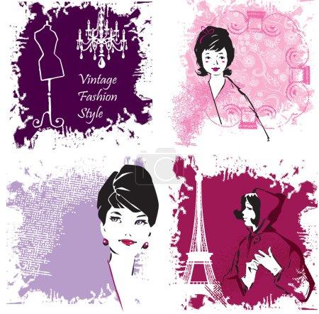 Set of Fashion Woman image retro cards
