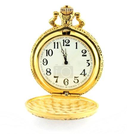 Foto de Concepto de tiempo con reloj - unos tres minutos hasta 12 o del mediodía - Imagen libre de derechos