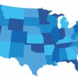 State map of the united states of america in blue ...