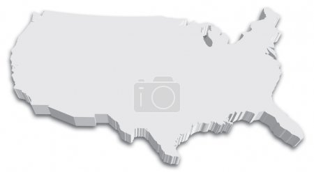 Black & White 3D USA State map