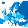 Blue Map of the European Countries...