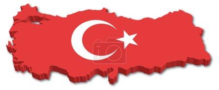 Illustration pour Carte 3D Turquie avec illustration drapeau sur fond blanc - image libre de droit