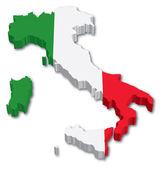 3D mapa Itálie s příznakem