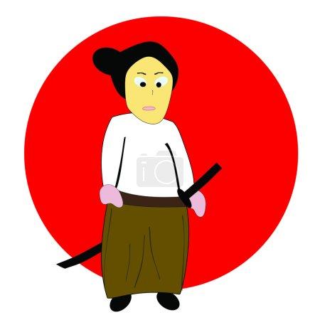 Photo pour Dessin d'un beau samouraï au soleil levant - image libre de droit
