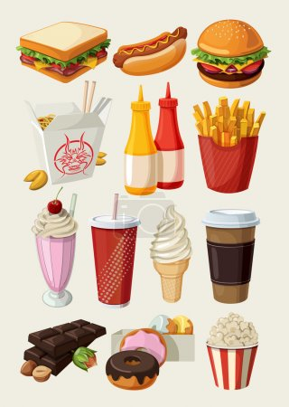 Photo for Set of colorful cartoon fast food icons. Isolated vector. - Royalty Free Image