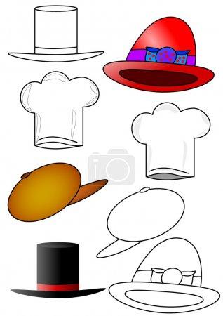 Foto de Los diversos sombreros y gorras como libros para colorear para niños - Imagen libre de derechos