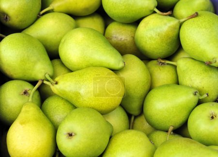 Green pears at a famers market in France...
